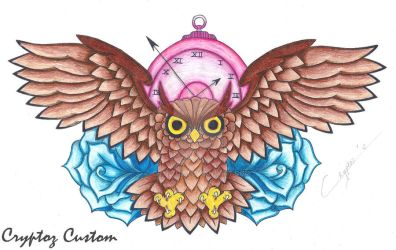 Owl, Clock and Roses by CrYpToZ