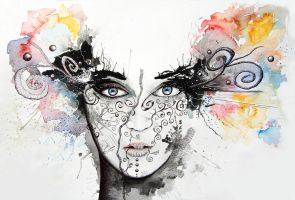 Abstract Watercolour Portrait 'Lost in everything' by StuartShields