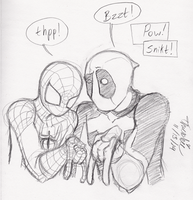 Spidey and Deadpool - Silly by Threshie