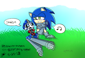 Sonic sing to Child Orion Pax by knockoutandsonic