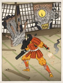 Samus Aran as an Ukiyo-e by thejedhenry