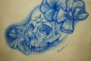Sugar skull and flower tattoo design by Ronny-Inked
