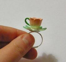 Pretty petal teacup ring by CherryBombCharm