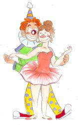The clown and the ballet dancer by OhMyGodItsTheYeti