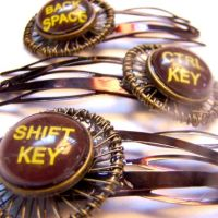 Old Typewriter Keys Hairclips by SteamSociety