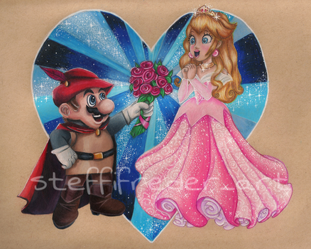 Princess Peach and Mario as Aurora and Prince Phil by SteffiFrederArt