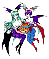 Morrigan and Lilith - Halloween Merriments by SketchMeNot-Art