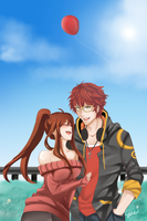 Mystic Messenger 707 and MC by ashkeeoh