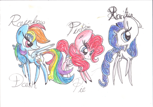 'Vintage' Ponies- Rd, Pinkie, and Rarity (IRL) by Gingerwish