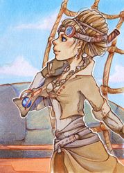 Wind in my back - Steampunk ACEO by uniquorned
