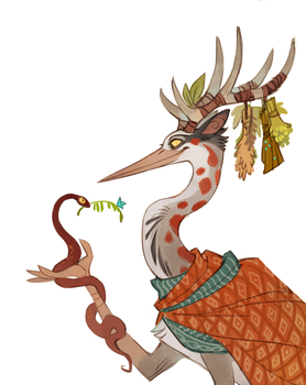 Deer-heron witch by Drkav