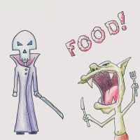Hungry Goblin and Skeleton Guy by Oloring