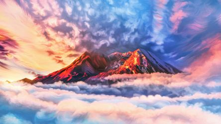 Flaming mountain top by exobiology