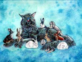 Bloodi and the bunnies by thornwolf