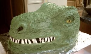 T-Rex Head Cake! by Batalha-Enterprises