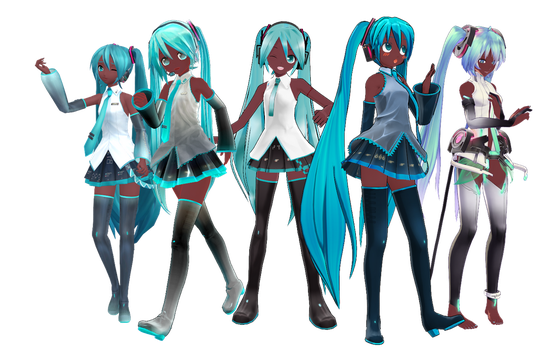 Black Miku Set by RandomDraggon