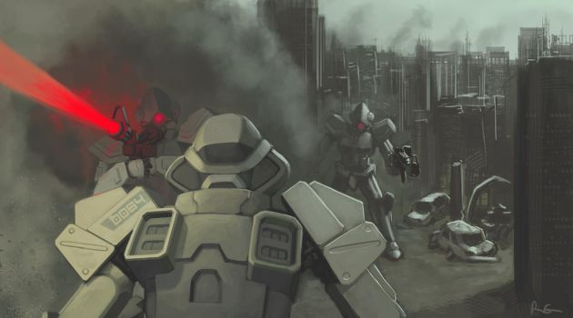Random mechs fighting by I2ebis
