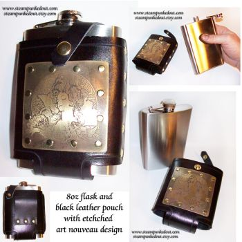 Art nouveau etched flask pouch by Steampunked-Out