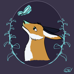 Fox and butterfly by EllaV323