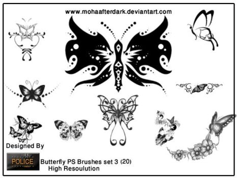 butterfly brushes set3 by mohaafterdark