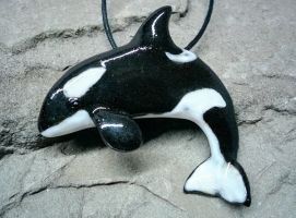 Ceramic Orca Pendant by NatureSculptures