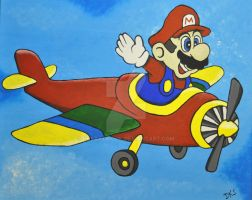 Flying Mario by dksartwork