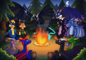 Campfire With Dragons by Oggynka
