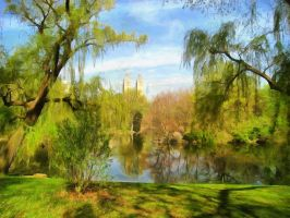 Park Pond by oldhippieart