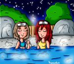 Kairi and Varity at the hot springs by ninpeachlover