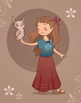 The Girl and Owl by Lumi-Sketches
