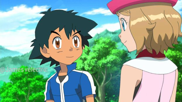 Ash and Serena looking at each other.  by Jamesvelectric