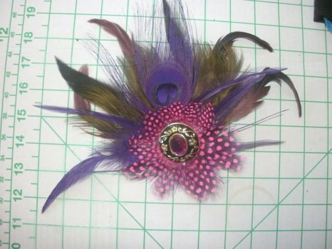 Purple Jewel Feather Hair Clip by kukuramutta