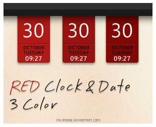 RED Clock and Date 3 Color by milano88
