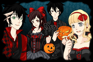 Halloween with Nico, Percy,Annabeth and Me by kameo021