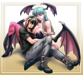 Morrigan (cuddle time) Commission by Sano-BR