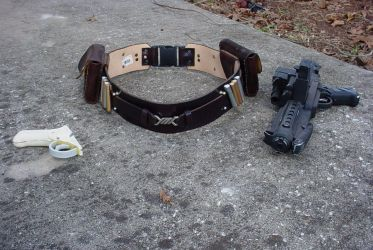 Jedi leather belt and blaster by onedge30