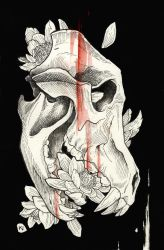Wolf skull and flowers by Kaos-Nest
