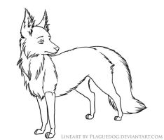 Fox lineart by Plaguedog