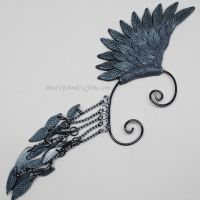 Black Bird Wing Ear Wrap by Gailavira
