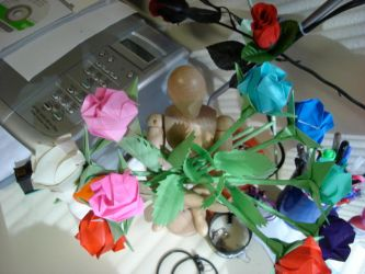 Origami Roses by nottotallyhere