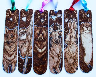 Six Pyrographed Animal Bookmarks by BumbleBeeFairy