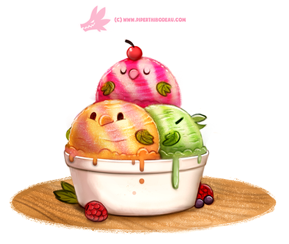 Daily Paint #1227. Sherbird Icecream by Cryptid-Creations