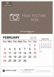 Wall Calendar February 2019 Free Vector by 123freevectors