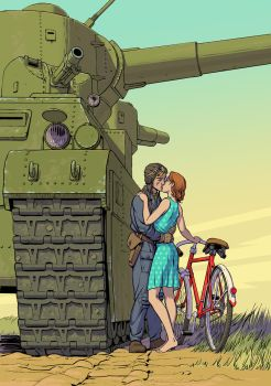 Bicycle and Tank by Lipatov