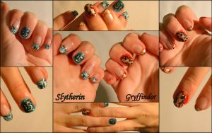 Gryffindor and Slytherin Nails by lRakuenl