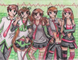 Red and Green Team by AmiMeito-chan