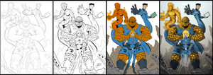 The Fantastic Four F4 Work in Progress by BouncieD