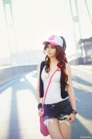 Pokemon Hilda / Touko [01] at Driftveil Drawbridge by beethy