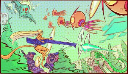 Space Harrier Widescreen Comic Panel by Khylov