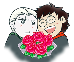 Harry and Draco with Bouquet by YumeKutteIkiteru